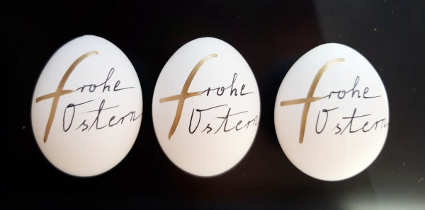 Frohe Ostern Trio Gold Ostereier
